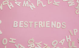 Sorting letters Bestfriends on pink. Sorting letters Bestfriends on pink Royalty Free Stock Image