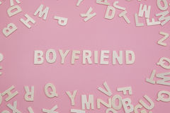 Sorting letters Boyfriend on pink. Royalty Free Stock Photo