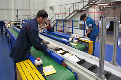 Sorting machine. VNUKOVO, MOSCOW REGION, RUSSIA - APR 7, 2015: Russian Post. Logistics center in Vnukovo, working around sorting conveyor royalty free stock photography