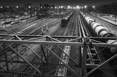 Sorting railway station with illumination at night Stock Images