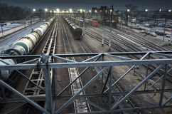 Sorting railway station at night Royalty Free Stock Images