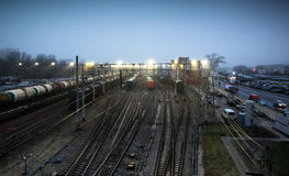 Sorting railway station with trains at night. Sorting railway station with cargo trains at night stock photo