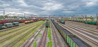 Sorting stations. Panoramic view of the railway yard on which sorting of freight railway trains takes place Stock Photos