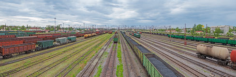 Sorting stations. Panoramic view of the urban junction railway yard on which sorting of freight railway trains takes place Royalty Free Stock Images