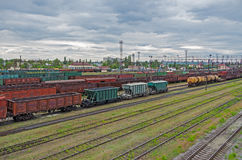Sorting stations railway. Railway sorting station in the background of a cloudy sky in front of a thunderstorm in May Royalty Free Stock Images