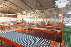 Sorting system. Conveyer belt system in sorting warehouse Stock Photos