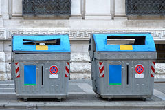 Sorting waste. Two recycling bins for sorting municipal waste stock photography
