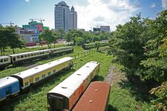 The sorting yards of the Burmese Railway in the suburbs of Yangon, Myanmar stock photos