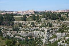 Sortino, Sicily, Italy. City Sortino from Necropoli Pantalica in the central Sicily, Italy stock photo