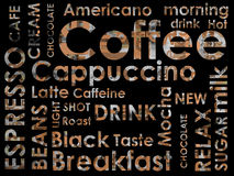 Sorts of coffe. E on black background Royalty Free Stock Images