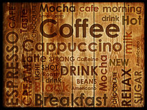 Sorts of coffe. On wood background Royalty Free Stock Photo