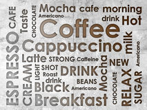 Sorts of coffe. With stains of coffee Royalty Free Stock Photos