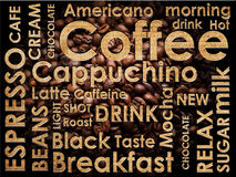 Sorts of coffe background. Sorts of coffe on coffe beans background Stock Photography