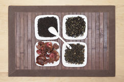 Sorts of tea. Top-down view of four different sorts of tea Stock Images