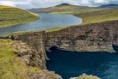 Awesome view of Sorvagsvatn lake over the cliffs
