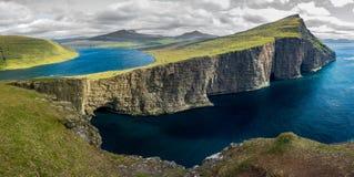 Sorvagsvatn lake over the Atlantic ocean panorama, Faroe Islands