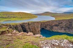 Sorvagsvatn lake over cliffs of Vagar island long exposure, Faroe Islands