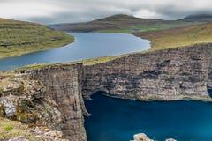Sorvagsvatn lake over the ocean long exposure, Faroe Islands