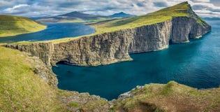 Sorvagsvatn lake over the ocean panorama, Faroe Islands