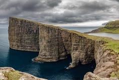 Sorvagsvatn lake over the ocean spectacular panorama, Faroe Islands