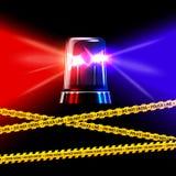 Sorvegli il nastro ed il rosso di giallo della scena del crimine con il blu Fotografia Stock