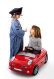 Sorvegli l'arresto un'automobile con la sorpresa del driver Fotografie Stock