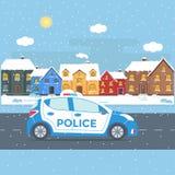 Sorvegli la pattuglia su una strada con il volante della polizia, la casa, paesaggio della natura Immagine Stock