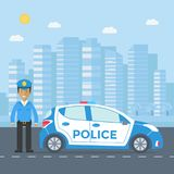 Sorvegli la pattuglia su una strada con il volante della polizia, l'ufficiale, casa Fotografia Stock