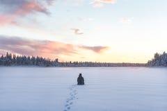 Sorveglianza del tramonto fotografie stock