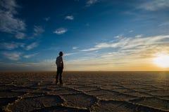 Sorveglianza del tramonto nel deserto Immagine Stock