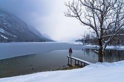 Sorveglianza della venuta di una tempesta della neve sopra il lago congelato Bohinj in alpi slovene Fotografie Stock Libere da Diritti