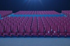 Sorveglianza di film del cinema Composizione con i vetri 3d, il popcorn e la tazza con una bevanda Concetto del cinema con luce b illustrazione vettoriale
