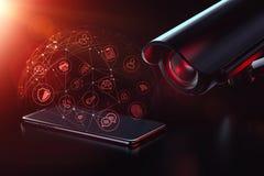Sorveglianza mobile di dati Vulnerabilit? di dati per il concetto di sorveglianza e di inseguimento rappresentazione 3d immagine stock libera da diritti