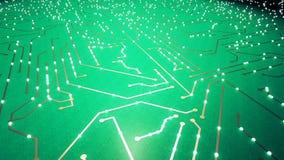 Sorvolare il chip con gli elettroni di un volo Colore verde stock footage