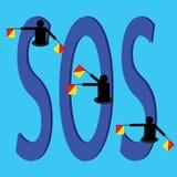 Sos动臂信号机旗子和文本在蓝色背景 免版税库存照片