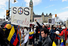SOS委内瑞拉抗议在渥太华 库存照片