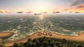 SOS σε ένα εγκαταλειμμένο βίντεο νησιών ελεύθερη απεικόνιση δικαιώματος