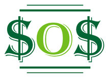 SOS σημαδιών δολαρίων Στοκ φωτογραφίες με δικαίωμα ελεύθερης χρήσης
