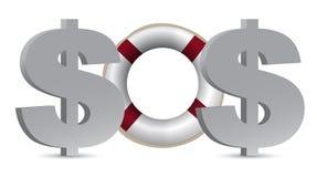 SOS. 美元的概念 库存照片