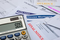 Sos. Different invoices and bills,sos Stock Photo