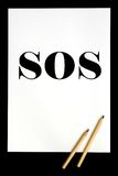 SOS. White sheet of paper with SOS Vector Illustration