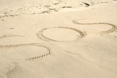SOS. Destress message on the beach Stock Photo