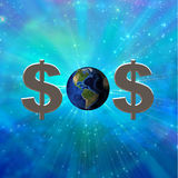 SOS. Dollar sign and earth create SOS symbol Stock Photo