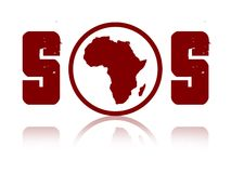 Sos Africa. Illustration of a word sos with the map of africa in the middle stock illustration