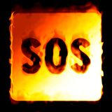 SOS background in flames. On a black background Royalty Free Stock Photography