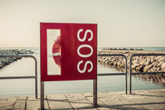 SOS Beach Barcelona. Catalonia, Spain. Vintage retro style Royalty Free Stock Photos