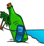 SOS bottle  island and  phone Royalty Free Stock Photos