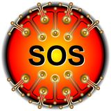 Sos button. Support question help Stock Photo