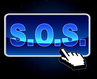 Sos Button Indicates World Wide Web And S.O.S. Royalty Free Stock Photography