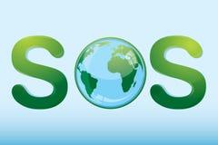 SOS com globo ilustração do vetor
